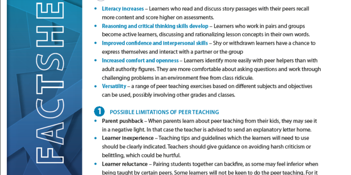 USING LEARNERS AS A Resource for Learning Support