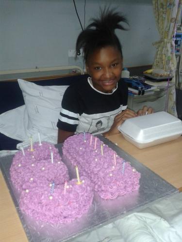 Emily spending her birthday in hospital